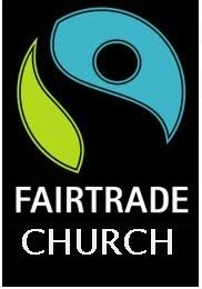Fairtrade Church logo promoting Fair Trade Shop opening times