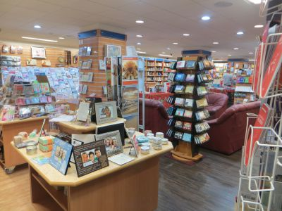 Tenants include the CLC Bookshop in Birmingham. Photo shows stands and displays of Christian resources