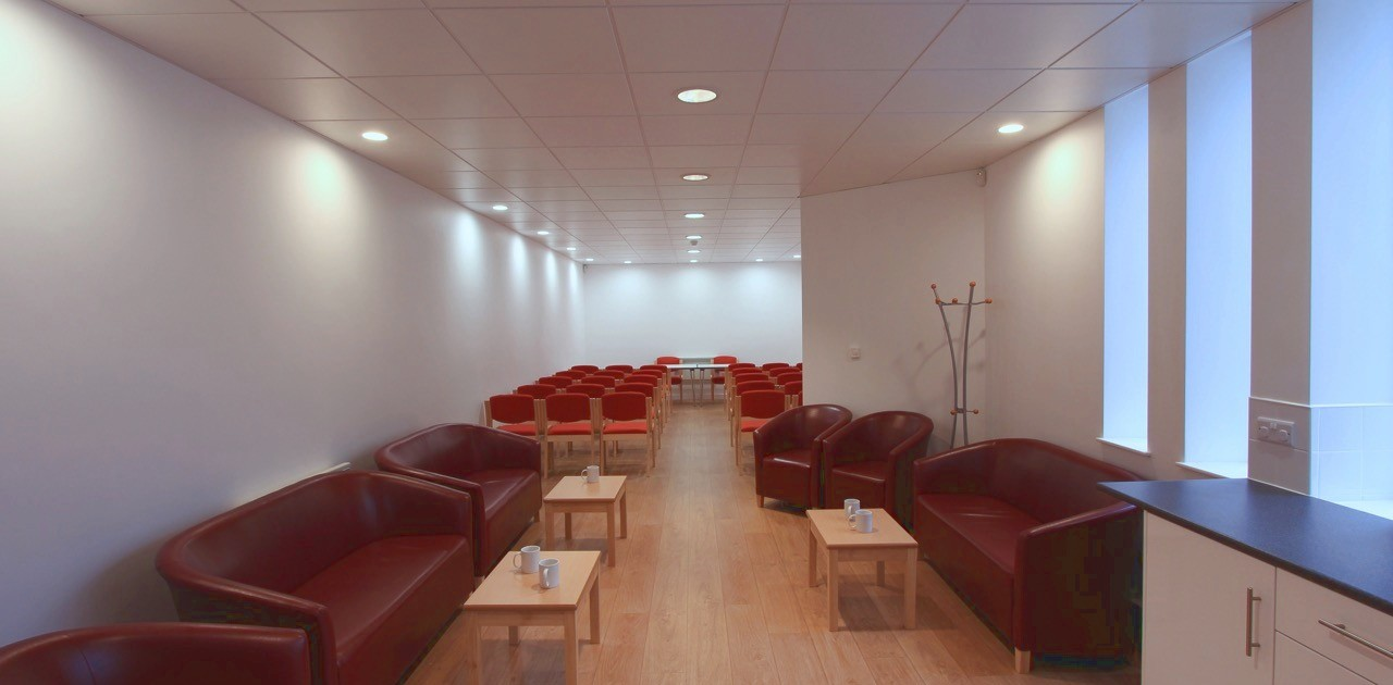 Wiseman Room at Carrs Lane Conference Centre in theatre and loung styles
