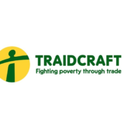 Traidcraft fair trade logo in geen and yellow