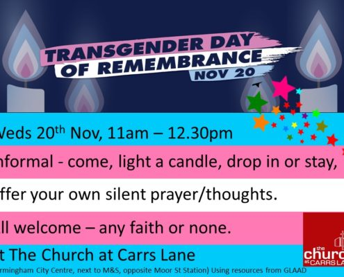 Transgender Day of Remembrance, 20 November 2019 at Carrs Lane Church