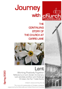 Cover of the spring 2020 issue of Journey with an Easter lily photo