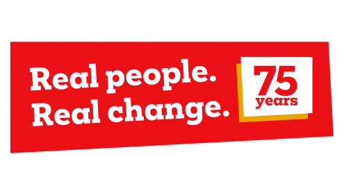 "Red and white logo with wording ""Real People. Real Change. 75 years of Christian Aid"""