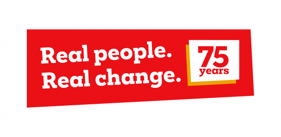 """Red and white logo with wording """"Real People. Real Change. 75 years of Christian Aid"""""""