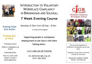 Image of a leaflet outlining the 7-week evening course to become a voluntary workplace chaplain in Birmingham and Solihull